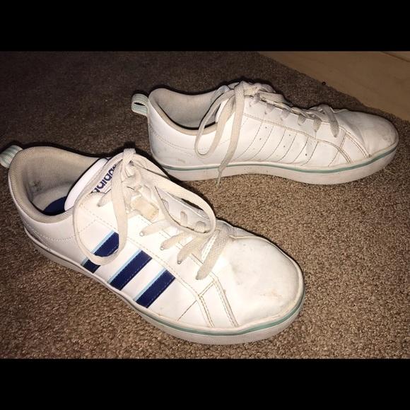 White Adidas With Blue Stripes